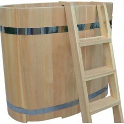 Овальная купель из кедра Размер: высота 1200 мм, диаметр 1200х780 мм, толщина 40 мм