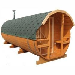Баня-бочка из кедра с Верандой и Козырьком длина 4 м